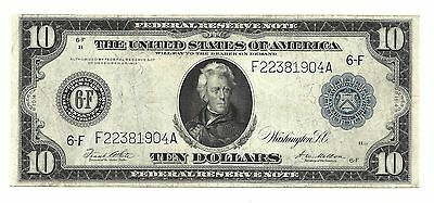 1914~ $10 Federal Reserve Note ~ Atlanta District ~ Fine-Very Fine