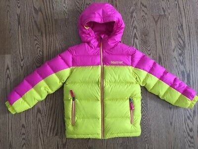 Marmot Girls Guides Down Hood Jacket S 6/7 NWT Yellow/pink