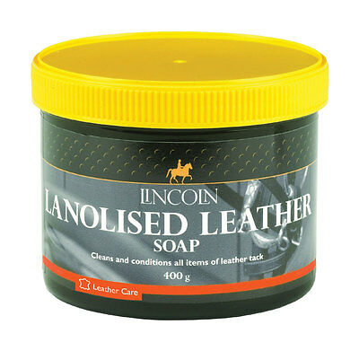 Lincoln Lanolised Leather Saddle Soap 200/400gm cleans & conditions leather tack