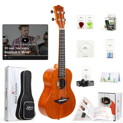 Electric Acoustic Ukulele Soprano Concert Tenor Hawaii Guitar Solid Mahogany