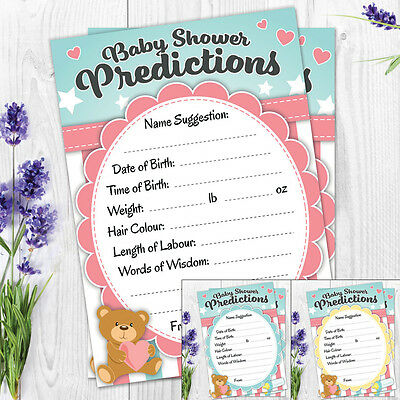Baby Shower Prediction Game Cards - Pack of 20 - High Quality - Boy Girl Unisex
