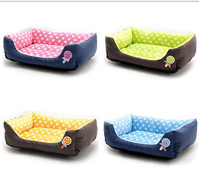Lollipop Spot Dog Pet Bed 4 Colors Short Plush with Waterproof Surface Pets Bed