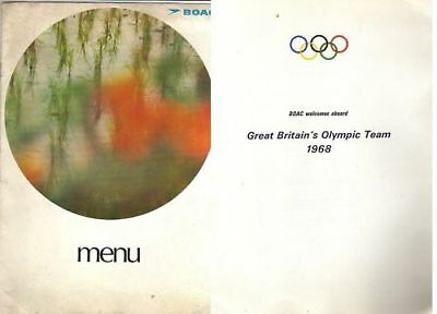 Orig.MENU    Olympic Games 1968 - Great Britain Team Flight  !!  RARE