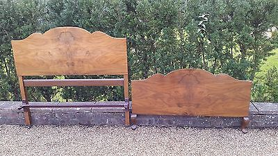 Vintage VONO Walnut Veneer Headboard and Footboard Small Double VGC