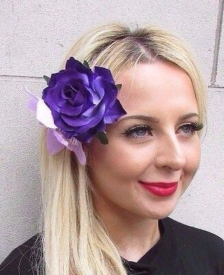 Double Lilac Purple Rose Orchid Flower Hair Clip Fascinator Rockabilly 50s 3445