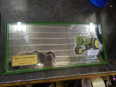 VINTAGE JOHN DEERE W/TRACTOR ADVERTISING MIRROR WM Bornemann Hannover ND