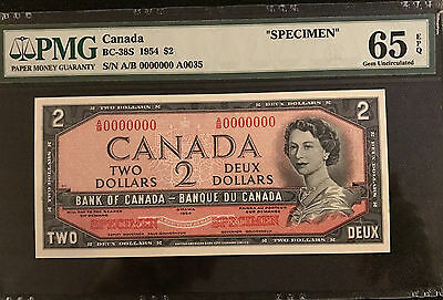 """1954 Bank of Canada $2 """"Specimen"""" Note BC-38S Only 108 Sold by Bank of Canada"""