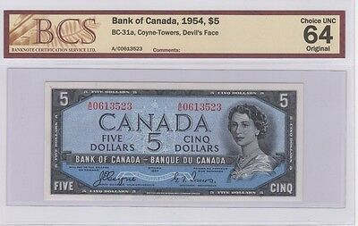 1954 Devil's Face $5 Bank of Canada Coyne-Towers Choice Uncirculated 64 Original