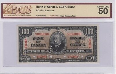 """1937 Bank of Canada $100 """"Specimen"""" Note BC-27S"""