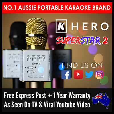 K Hero SUPERSTAR 2 Portable Microphone Karaoke Machine Wireless System Portaoke