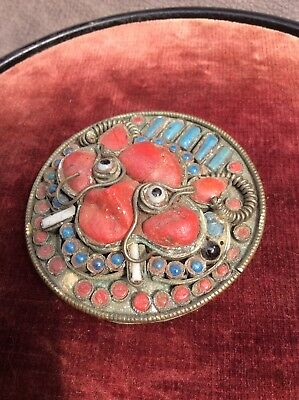 Antique Chinese Tibetan Silver Turquoise And Coral Pot Box Drarmapala