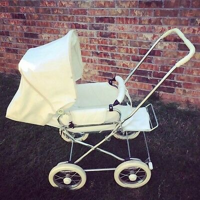 Vintage WHITE Emmaljunga Viking Pram Push chair Stroller Baby Pushchair Old