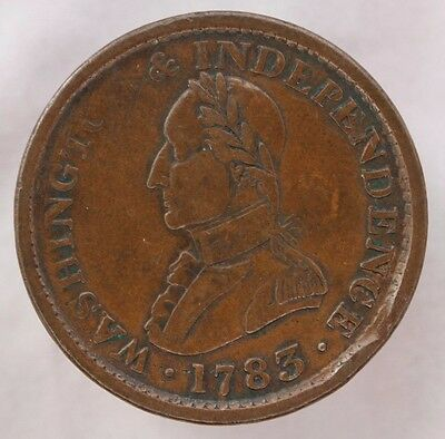 1783 Washington Independence Colonial Small Military Bust Vf Very Fine Coa Incl