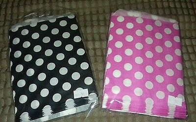 100 Candy Spot Paper Bags Pink & Black 7 x 5 inches