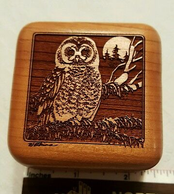 Beautiful Laser Engraved Wood Spotted Owl Hinged Box Signed Red Velvet Interior