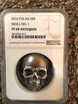 2016 Palau $5 1 troy oz .999 High Relief Antiqued Silver Skull Shaped NGC PF69