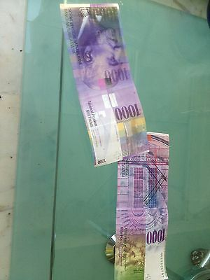Biggest Banknote In Europe! - 100% Genuine - 1000 Swiss Franc Note. Hard To Find