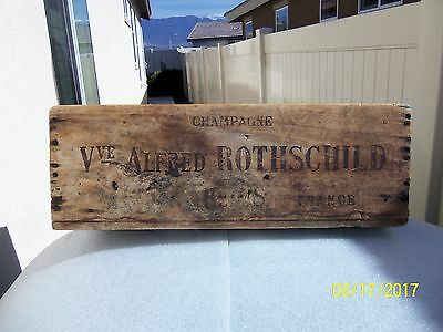 Original 1930's Vve Alfred Rothschild wine champagne wooden crate Reims France