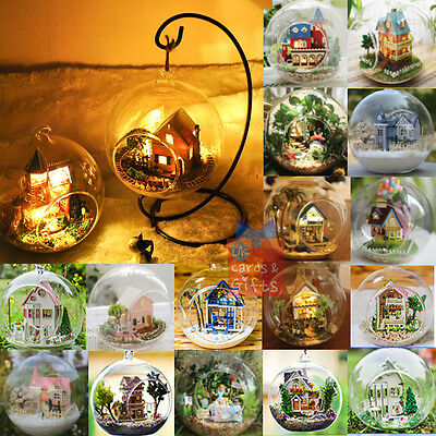 Glass Ball DIY Handcraft Miniature Project dolls house Kit with Lights & more*