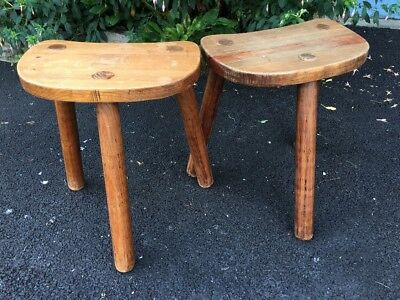 Pair Of Three Legged Milking Stools
