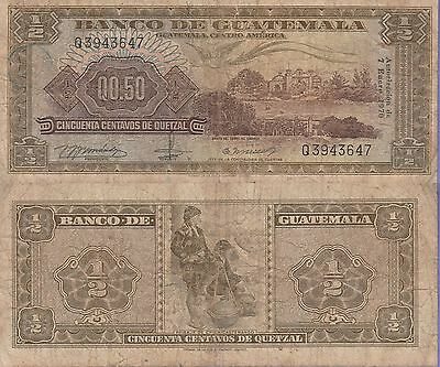 Guatemala 1/2 Quetzal Banknote 7.1.1970 Very Good Condition Cat#51-G-3647