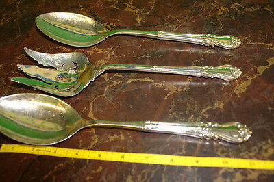 Large Silver Plate Servers - Lot of 3 - 2 Spoons & 1 Fork