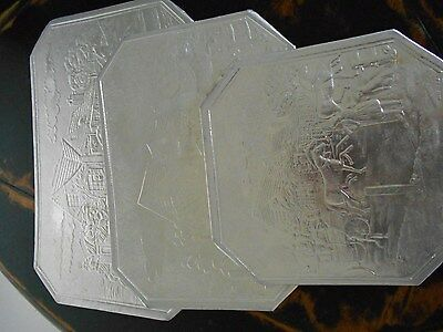 Vintage Silver Plated Trivets Set of 3 with English Design