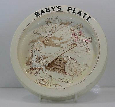 Carlton Ware Late Victorian Baby's Plate 'See Saw'