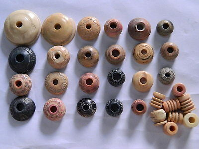 Ancient Shell/Bone 31 Spindle Whorls Roman 200 BC #BE2434