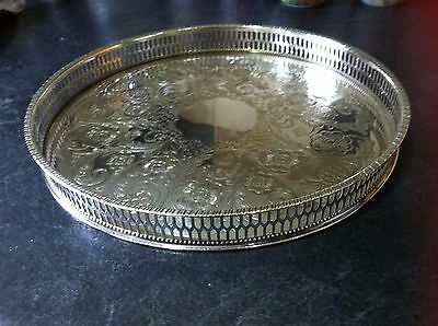 Silver Plate Sheffield Serving Tray Round 26CM wide