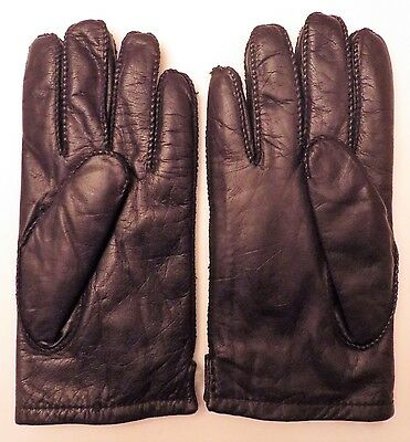 Vintage Men's Black Leather Gloves, White Rabbit Fur Lined  (Size L)