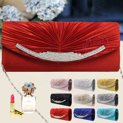Classic Women Satin Diamante Ruffle Party Evening Clutch Prom Bridal Bags Purses