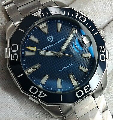Pagani Design Automatic Blue Dial Power Reserve Mens Uhr Orologio Montre Watch