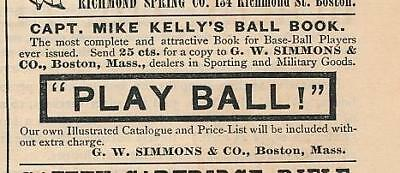 Vintage Magazine Ad - 1888 - Captain Mike Kelly's Baseball Book