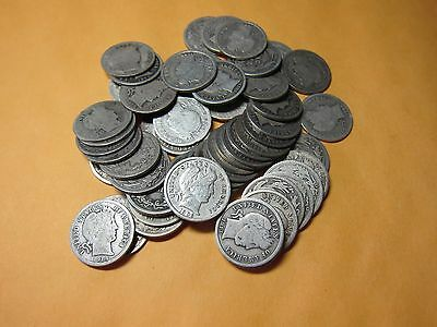 Large Lot Of Sixty Barber Dimes Circa-1892-1916 Silver