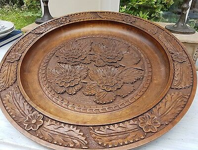 Large 17inch carved wooden platter signed AF Lowe Leaf Carving Antique Vintage
