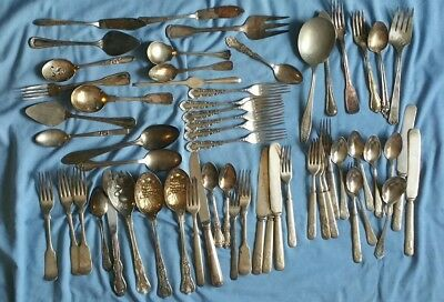 58pc Lot Mixed Silverplate Flatware Windchime Crafts Resale Collect Oneida &More