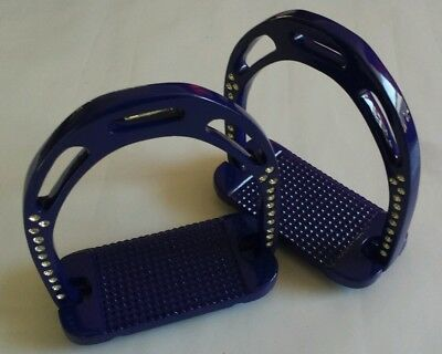 "Stirrups, blue, 4.75"", Diamante lightweight Aluminium stirrups. High grip tread"