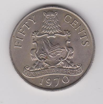 1970 Bermuda - 50 Cents  Elizabeth II 2nd Portrait    KM#19   Low Mintage  1M.