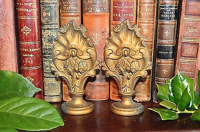 Antique Pair French Bronze Finials Ornate Drapery Curtain Hardware