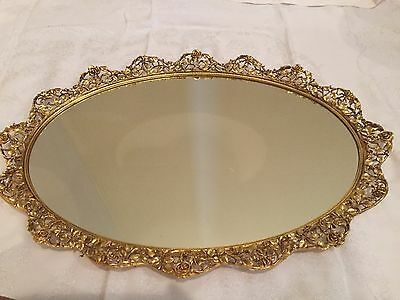 "Vintage SIGNED Matson Roses Vanity Mirror Tray 20"" Scalloped Oval 24k Gold"