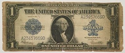 Nice 1923 Large Note $1 One Dollar Blue Seal Silver Certificate Horse Blanket !!