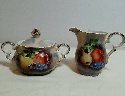 Sterling China Creamer and Sugar Fruit Design Gold Trim Made in Japan