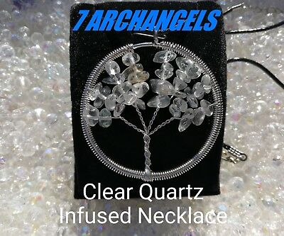 Code 466 ARCHANGELS Quartz Infused Necklace Doreen Virtue Certified Tree of Life