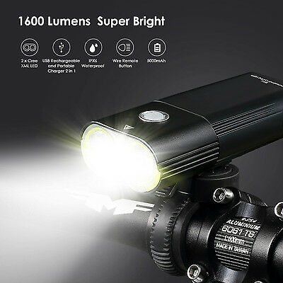 LED BIKE 1600lm & 100lm Rear light CREE USB Front Bicycle Headlight Power Pack