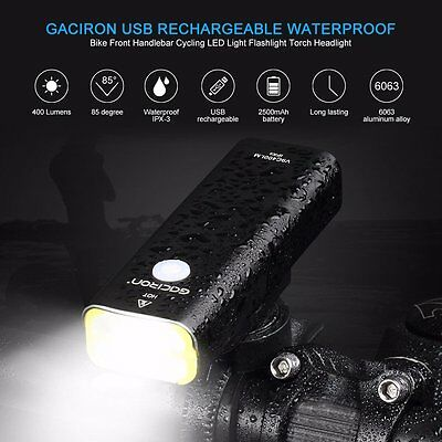 Super Bright Light 400, New Rear Bicycle light CREE USB Headlight Rechargeable