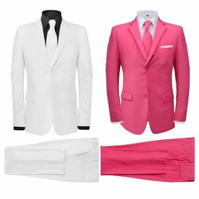 Men's 2 Piece Suit with Tie Jacket Trousers Business Work White/Pink Size 46-56✓