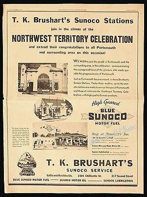 1938 BLUE SUNOCO MOTOR FUEL Brushart's Gas Station Full-Page 1930s Newspaper Ad