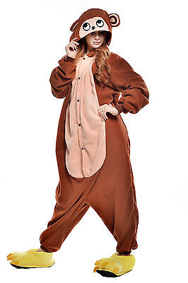 Unisex Adult Animal Pyjamas Cosplay Costume Kigurumi (Brown Monkey XL)