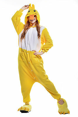 Unisex Adult Pajamas Kigurumi Cosplay Costume Animal Onesi Sleepwear (Duck L)